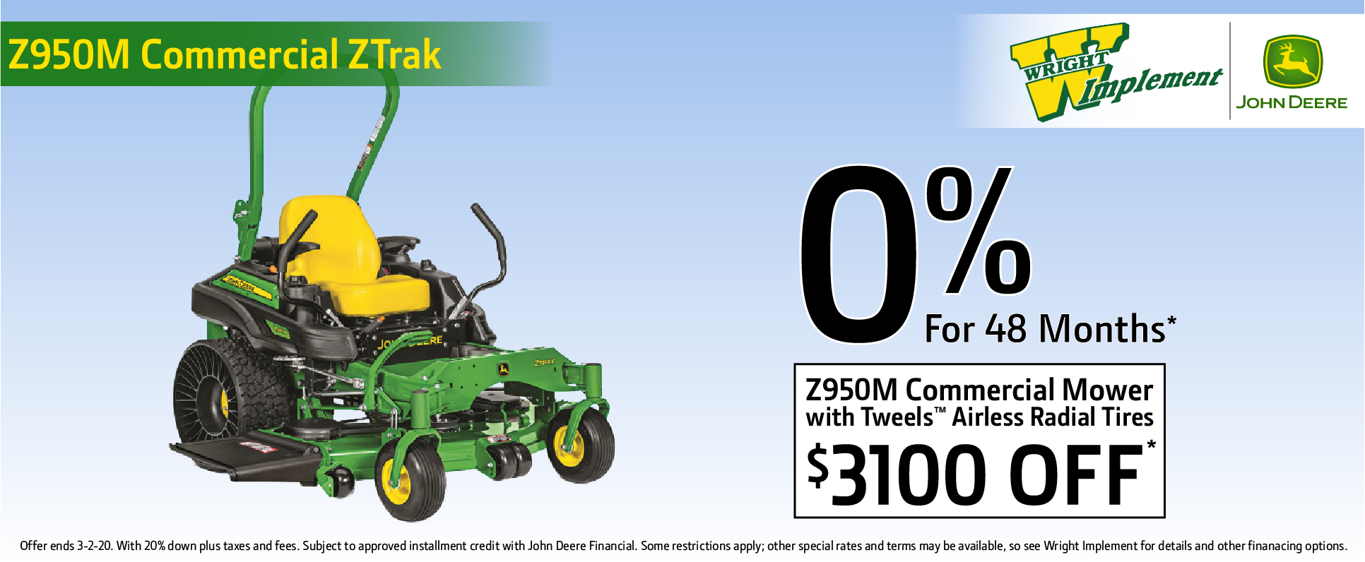 Z950M Commercial Mower w/ tweel airless radial tires. $3,100 off 0% for 48 mo