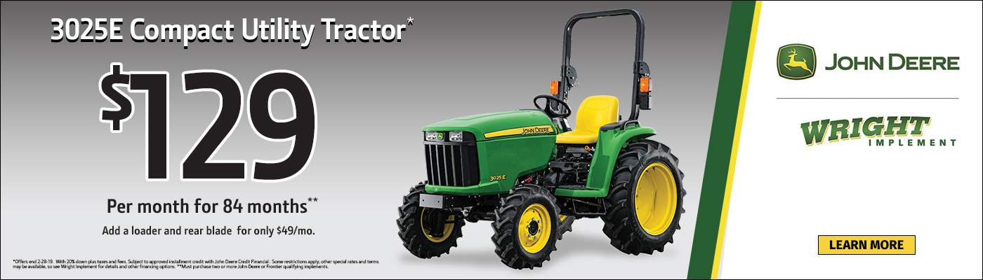3025E Compact Utility Tractor $129 per month for 84 months