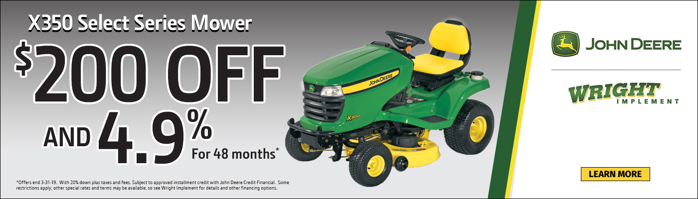 x350 Select Series Mower, $200 Off & 4.9% for 48 months