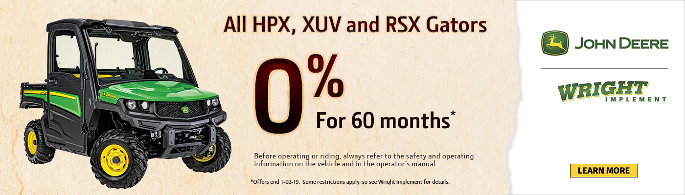 All HPX, XUV and RSX Gators 0% For 60Months